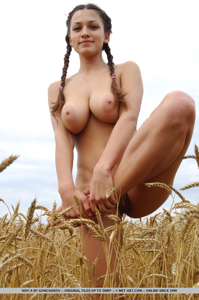 Similar situation. Girl naked in field join. All
