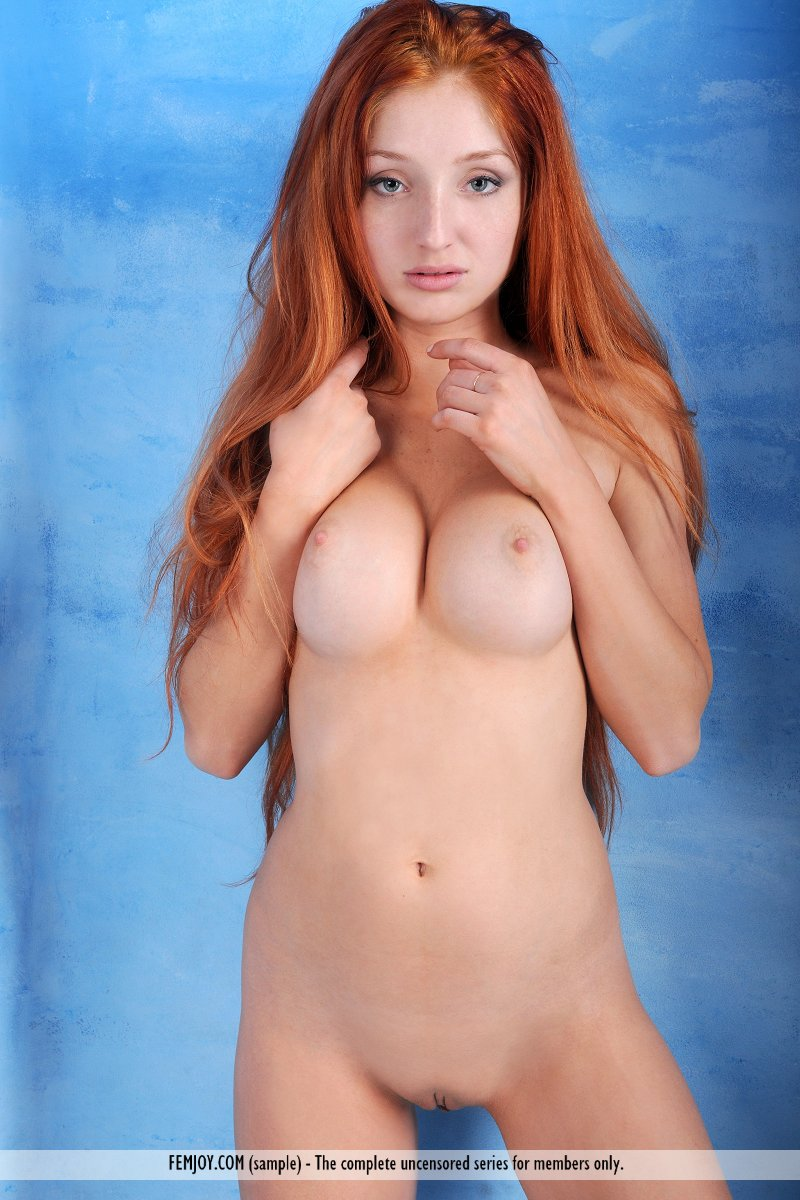 Redhead big tits long hair for
