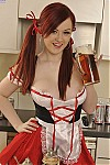 Busty bavarian maid stripping