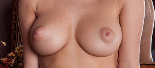 Busty blonde with puffy nipples