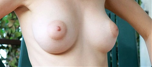 Busty blonde with big areolas