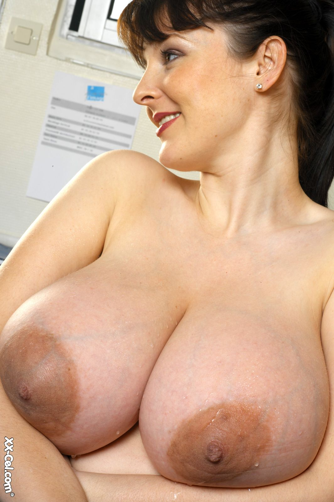 Lorna Morgan's huge tits and brown nipples at Busty Girls Blog