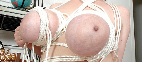 Huge tied-up natural tits